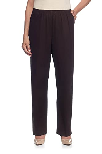 Alfred Dunner Women's Misses Soft Twill Mid-Rise Fit Straight Leg Regular Length Casual Pant, Chocolate, Size 18