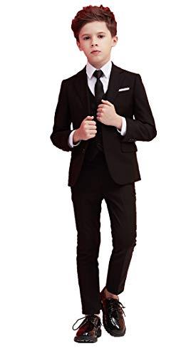ボーイズフォーマルスーツ 子供用スーツセット 子供服 男の子 子供正装 ジャケット シャツ ベスト ネクタイ 5点セット 入学式 卒業式 結婚式 七五三 黒 170