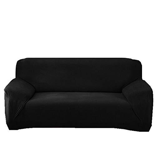 B/H Tejido Poliéster Poliéster Sofa Cubre,Funda de sofá de Punto Impermeable, Funda de sofá Engrosada General-Negro_90-140cm,poliéster y Elastano Funda sofá