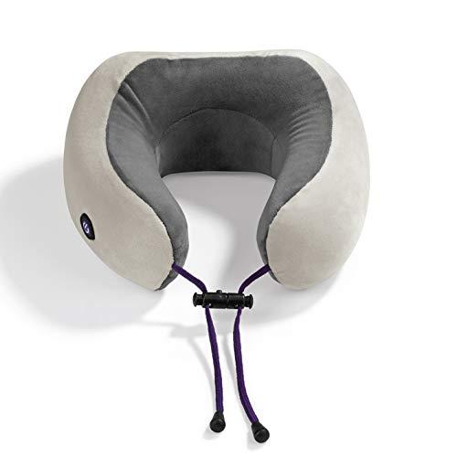 VITALmaxx Nacken Massagekissen | kabellos | für Anwendungen im Schulter- und Nackenbereich | 2 Vibrationsstufen | Reisekissen, Nackenhörnchen [grau]