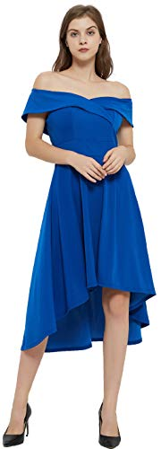 AnnaKim Women's Off Shoulder High Low Hem Wedding Guest Party Cocktail Dress Blue