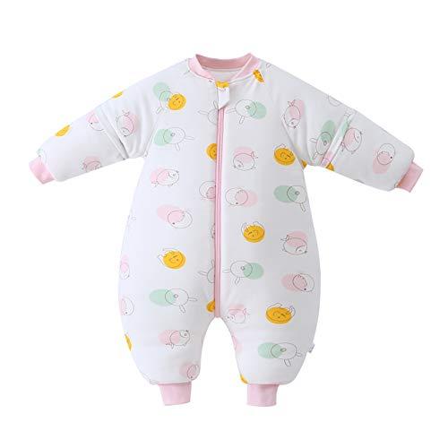 Bebé Saco de Dormir para Niños Niñas Manga Separable con Piernas Algodón Pijama Cremallera Mamelucos Mono Invierno Traje de Dormir 1.5-3 años,Rosa(2.5Tog)