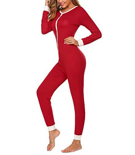 Schlafoverall Damen Warm Einteiler Schlafanzug Winter Kuschelig Jumpsuit und Elegant Pyjama Lang Overall für Frauen in rot XL