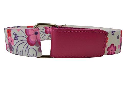 Olata Cinturón Elástico para los Niños/Niñas 1-6 Años, Hook y Loop Fijación con Impreso Diseño. Flor Rosa