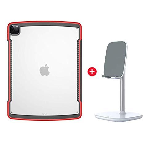 Funda para iPad Pro 12.9 2020, Premium Ultra Slim Absorbente de TPU Flexible Protectora Transparente con Borde de Almohada de Aire [Admite la Carga del lápiz de Apple,Red with Stand
