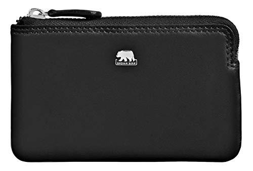 Brown Bear Echtleder Schlüsseletui lang Leder Schwarz für Damen und Herren mit RFID Schutz für Kreditkarten und Bankkarten hochwertig ideal auch als Mini Geldbörse klein oder Münzbörse