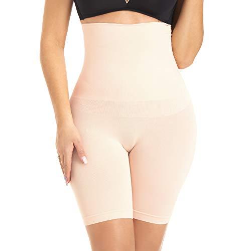PAUKEE Damen Shapewear Hohe Taille Tummy Control Miederpants Miederslip Nahtlose Unterwäsche Beige S