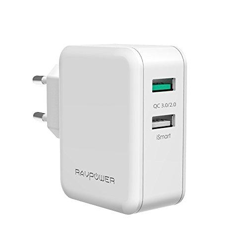 RAVPower Quick Charge 3.0 Chargeur USB 30W 2 Port Chargeur Secteur 4x Plus Rapide Rétrocompatible Quick Charge 2.0 pour Galaxy S8 S7, Note 8, iSmart Compatible avec iPhone Xs XS Max XR X 8 Plus -Blanc
