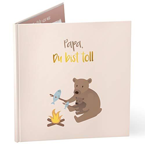 mintkind Libro de regalo con texto en inglés «Papa du bist toll» para papá, libro de fotos como regalo para el padre del padre, cumpleaños o Navidad de hija o hijo.