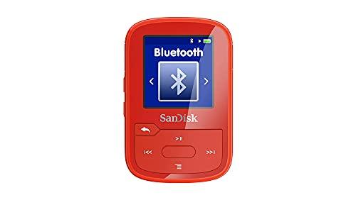 SanDisk Clip Sport Plus MP3 Player 16 GB (Bluetooth, 20 Stunden Akkulaufzeit, leicht, Kopfhörer, FM- Radio, bis zu 4.000 Songtitel) Rot