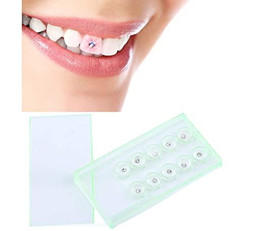 10pcs 2mm, Teeth Gems Kit mit und Licht, Dental Tooth Crystal, Ornamente Zähne Schmuck Dekoration Weiß W/Box
