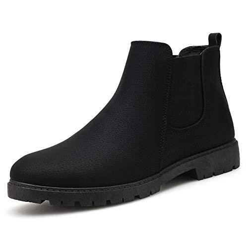 JiuRui Portafogli e portamonete Chelsea Boots di Uomini, Tirare Cuoio antiscivolo Scarpe a punta arrotondata, cuciture colore solido High Top elastico cavigliera Shoes (Color : Black, Size : 43 EU)