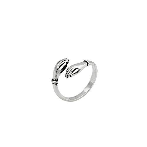 XIXIAO S925 Sterling Silber Ring Persönlichkeit Retro Umarmungsring Einfacher Trend Weiblicher Ring Öffnung Schwanzring Schmuck Umarmungsring