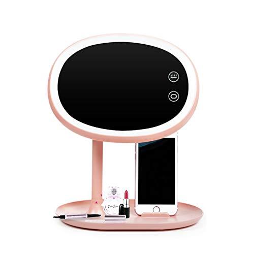 Huazhuangjing Handspiegel LED-lamp make-up spiegel lamp tafellamp tafelspiegel touchscreen prinses spiegel desktop multifunctionele make-up spiegel