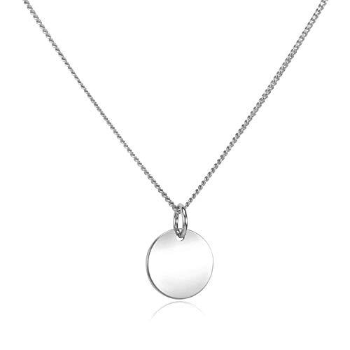 MATERIA Damen Kette mit rundem Plättchen Anhänger - Halskette 925 Silber rhodiniert 42+4cm CO-27-Silber
