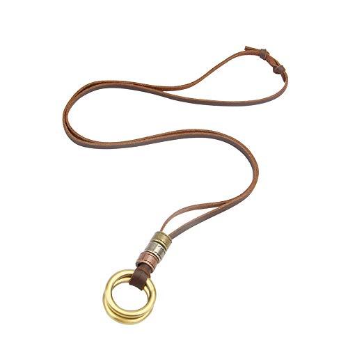 Ogquaton Vintage Eyeglass Strap Leder Sonnenbrille Neck Cord Halter Retainer Doppelkreise Halskette, verstellbar robust und kostengünstig