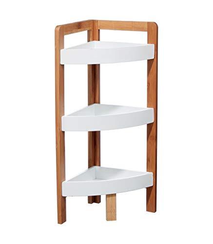 Etagère d'angle 3 niveaux bambou Blanc
