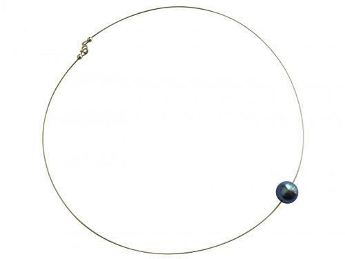 Gemshine Damenhalskette mit grauer Tahiti Perle. 45 cm lange Perlenkette aus 925 Silber - Made in München/Germany - Im eleganten Schmucketui mit Geschenkverpackung geliefert.