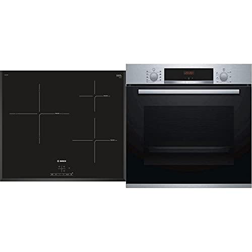 Bosch PIJ651BB2E Placa Inducción, Vidrio, Negro, 15 cm, 1400 W + HBA512BR0 Serie | 4- Horno eléctrico, con limpieza hidrolítica, 60 cm, capacidad 71 litros, color acero inoxidable