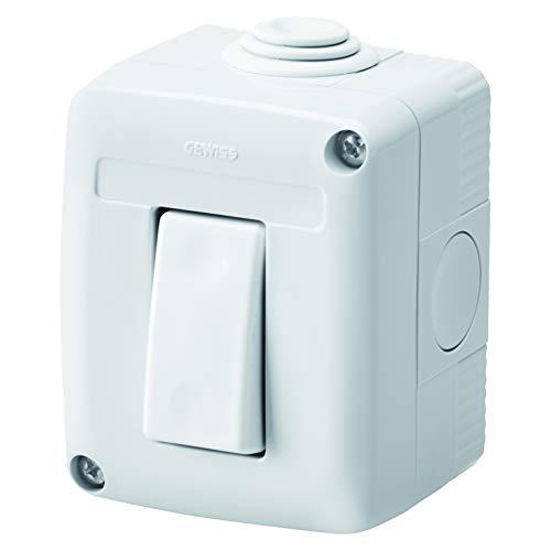 Gewiss GW27801DY Contenitore Completo Apparecchi Serie System Protetto, con Interruttore Unipolare 16 AX, IP40, Grigio Ral 7035