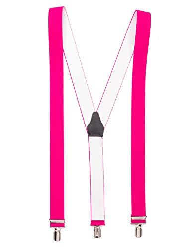 shenky Neonpink hochwertiger Hosenträger mit 3 Clips Klips Y-Form Männer Damen Hose Jeans Fasching Oktoberfest Fassnacht Karneval neon pink