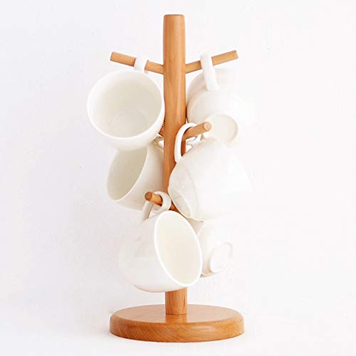 Coffee mug holdermug tree,Mug holder made of solid woodsolid wood tea cup holder High foot cup holder Wooden coffee cup holderMug HookMug StandCoffee Cup Dryer with 6 Hooks