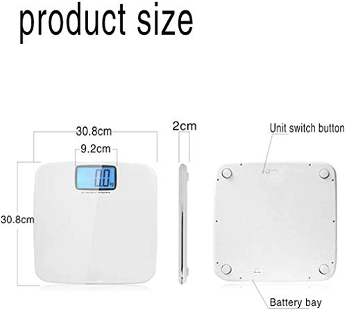 LKNJLL Electronic Weighing Scales Body Weight Scale,Human Body Weighing Adult Precision Weight Loss Meter Health Scale,LCD Easy to Read Display (Color : White) 4
