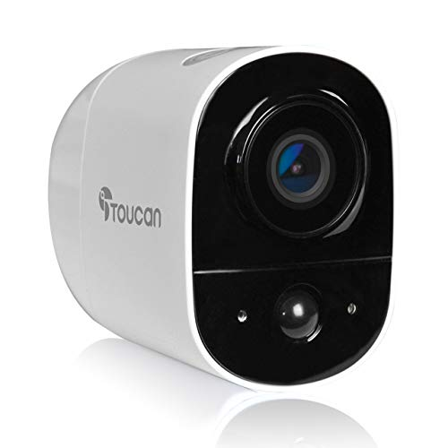 TOUCAN Outdoor Security Camera Wide Angle View 131° Weather Resistant Night Vision WiFi 24 Ghz 1080P HD Motion Sensor Builtin Lithium Rechargeable BatterySurveillance Camera Outdoor Wireless