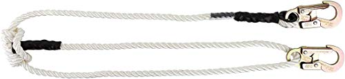 Pelican Rope Adjustable Rope Lanyard (4 feet - 7 feet) - 3-Strand Twisted Polyester Rope (1/2 inch), Hand-Spliced Eyes, Low Stretch, Chemical/Abrasion Resistant - for Fall Protection, Arborist Work