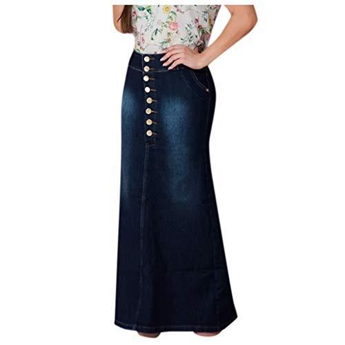 Faldas largas de Mujer Faldas de Mezclilla lavadas con Botones Falda Larga de Jean Falda Vaquera Falda Sirena Verano Slim Casual Enagua Azul Oscuro 449