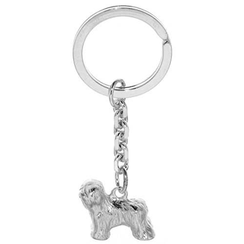 Derby Schlüsselanhänger Bobtail Hunderasse massiv echt Silber 29056