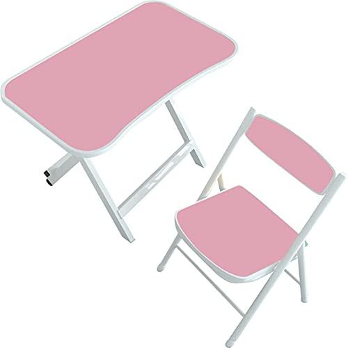 Kidoo - Mesa Infantil + Silla para Niños - Mesa de Estudio o Juego para Niños - Mueble para Salas de Juego | No Tóxico - 100% Seguras - Resistencia y Ligereza - Plegables - Versátiles (Rosa)
