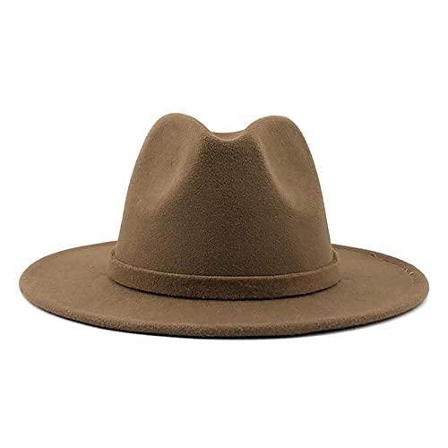 Men Women Wide Brim Wool Felt Jazz Fedora Hats British Style Trilby Party Formal Panama Cap Black Yellow Dress Hat 56-58-60CM (Color : Khaki, Size : 56 58CM)