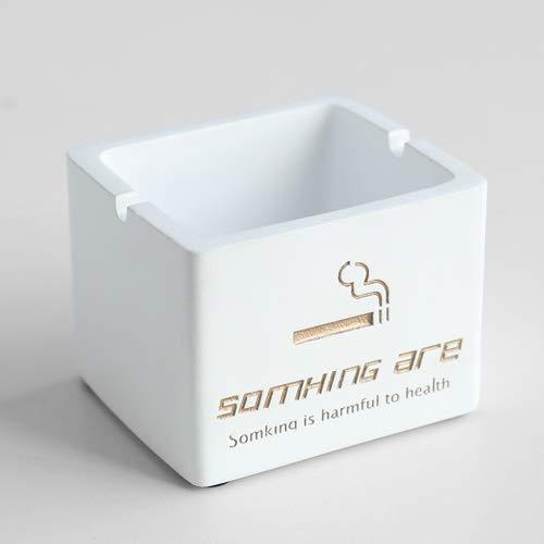 Weizi - Cenicero de resina resistente al viento con tapa para mesa de regalo para amigos, hotel, decoración del hogar, sin humo, cenicero