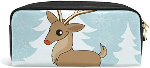 Christmas Reindeer Pencil Case Pen Bag Stationery Pouch Makeup Holder Cosmetic Box Makeup Organizers
