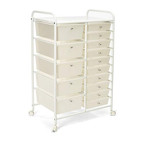Seville Classics 15-Drawer Multipurpose Mobile Rolling Utility Storage Organizer Cart, White