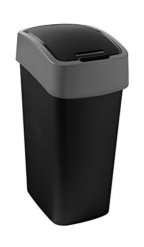 CURVER Abfalleimer Flip Bin 50l in schwarz/grau, Plastik, 35 x 25 x 10 cm