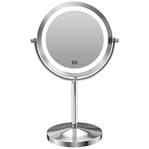 Gospire 10x Magnified Lighted Makeup Mirror Double Sided Round Magnifying Mirror Standing 360 Degree...
