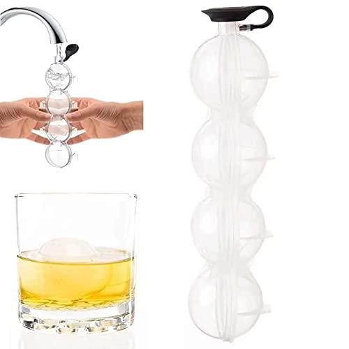 Silikon Eiswürfelform,Whisky-Runde 4-Loch Eiswürfelform,Eiswürfelbehälter mit Deckel zur Herstellung Eines 5,5-cm-Eispucks,Eiskugel Form für Whisky, Cocktails und Bier