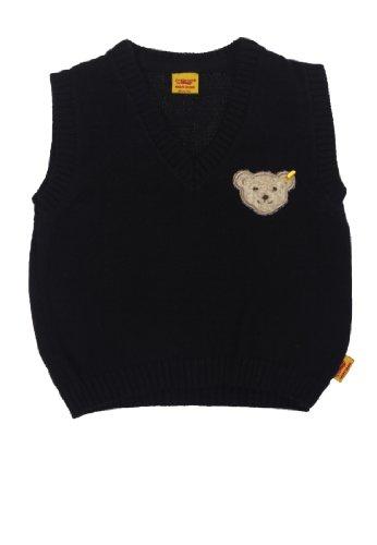 Steiff Baby - Jungen Taufbekleidung Pullunder 6432907, Einfarbig, Gr. 80, Blau (Steiff Marine 3032)