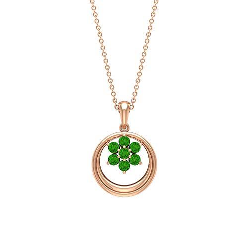 Colgante de oro de 3/4 quilates creado en laboratorio de Tsavorita, collar de gota de boda, colgante de piedra natal, collar vintage para mujer, colgante de aniversario para esposa verde