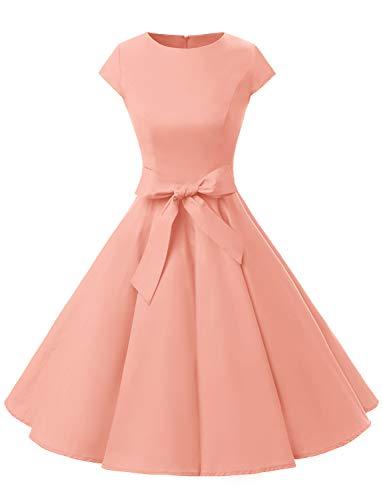 Dressystar Classic Vintage Audrey Hepburn Style 50s/60s Short Sleeve Dress. - Pink - M