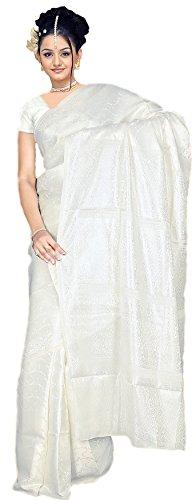 Trendofindia Indischer Bollywood Fashion Sari Stoff Damenkostüm Kleid Weiß CA122