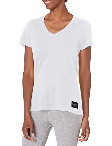 Calvin Klein Women's V-Neck T-Shirt, White, Medium