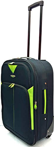 EasyJet, Jet2, Wizzair, BA and Many More Airlines Cabin Approved Super Lightweight Durable Expandable Carry-ons Hand Luggage Trolley 2 Wheeled Luggage Bag (21' EasyJet (56 x 38.5 x 23cm), Black/Lime)