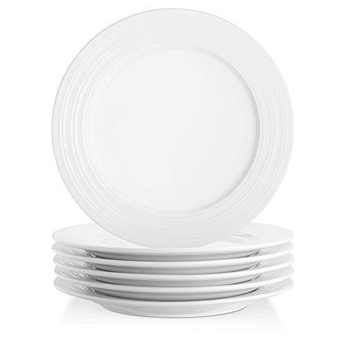 Lifver Platos para servir de porcelana de 25 cm Bandejas para servir con borde de anillo en relieve, redondo y elegante blanco, juego de 6