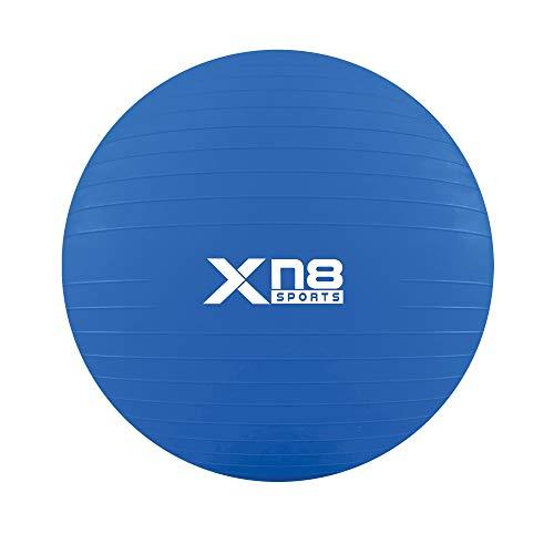 XN8 Pelota de Pilates Embarazo -Pelota de Ejercicio Anti Burst para Gimnasia, Yoga,Equilibrio, Fitness, Entrenamiento- Size 55cm 65cm 75cm 85cm- incluidos Bomba (Azul, 75cm)