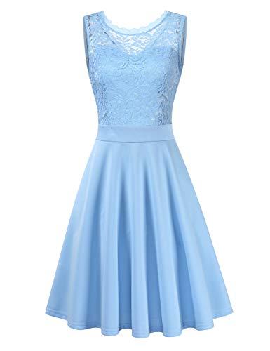 Clearlove Damen Cocktailkleid Elegant Spitzenkleid Vintage Knielang Rockabilly Kleid(Verpackung MEHRWEG), Hellblau-ärmellos, L