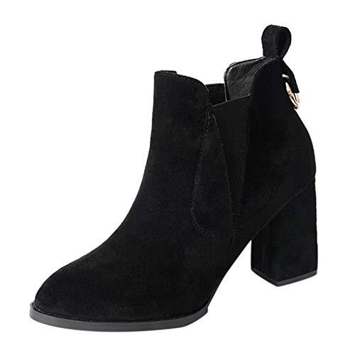Bottines Courtes Femmes Dames Fashion Slip on Chaussures à Talons Épais Couleur Unie Bottes de Moto Casual Shoes Chaussures à Bout Pointu Bluestercool