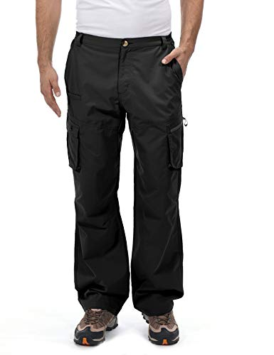 Little Donkey Andy Men's Quick Dry UPF 50+ Cargo Pants, Stretch Lightweight Outdoor Hiking Pants Black M